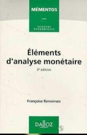 Elements D'Analyse Monetaire - Couverture - Format classique