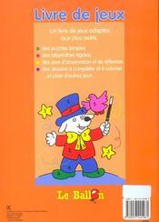 Livre de jeux 4-5 ans ; puzzles labyrinthes - 4ème de couverture - Format classique