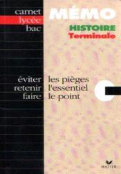 Carnet Memo Lycee Histoire Term. - Couverture - Format classique