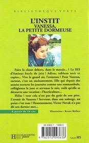 Vanessa La Petite Dormeuse - 4ème de couverture - Format classique