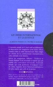 Le Crime International Et La Justice - 4ème de couverture - Format classique