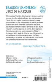 Fils-des-Brumes T.5 ; jeux de masques - 4ème de couverture - Format classique