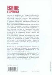 Écrire l'expérience ; vers la reconnaissance des pratiques professionnelles - 4ème de couverture - Format classique
