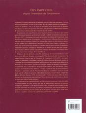 Des livres rares depuis l'invention de l'imprimerie (ne) - 4ème de couverture - Format classique