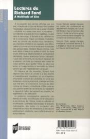 Lectures de Richard Ford ; a multitude of sins - 4ème de couverture - Format classique