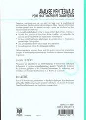 Analyse infinitesimale pour hec et ing commerciaux - 4ème de couverture - Format classique