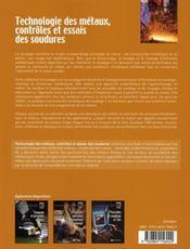 Technologie des métaux, contrôles et essais des soudures - 4ème de couverture - Format classique
