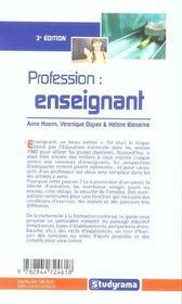 Profession enseignant 3e edition (3e édition) - 4ème de couverture - Format classique