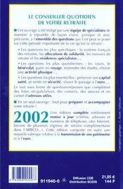 Le Conseiller Quotidien De Votre Retraite ; Edition 2002 - 4ème de couverture - Format classique
