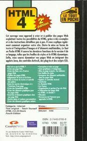 Html 4 Sde - 4ème de couverture - Format classique