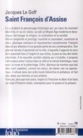 Saint Francois d'Assise - 4ème de couverture - Format classique