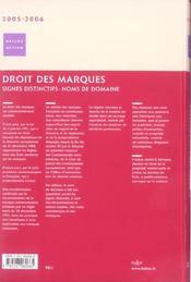 Droit des marques 2005/2006. signes distinctifs - noms de domaine - 2e ed. (édition 2005/2006) - 4ème de couverture - Format classique