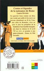 Contes et legendes de la naissance de rome - 4ème de couverture - Format classique