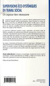 Supervisions éco-systémiques en travail ; un espace tiers nécessaire - 4ème de couverture - Format classique
