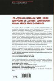 Accords Entre Union Europeenne Et La Suisse - 4ème de couverture - Format classique