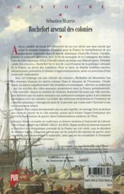 Rochefort arsenal des colonies - 4ème de couverture - Format classique