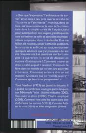 L'architecture de survie ; une philosophie de la pauvreté - 4ème de couverture - Format classique