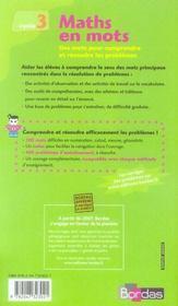 Maths en mots ; cycle 3 ; recueil - 4ème de couverture - Format classique