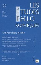 REVUE LES ETUDES PHILOSOPHIQUES N.2008/1 ; l'épistémologie modale - Intérieur - Format classique