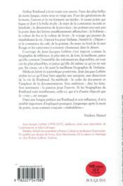 Rimbaud ; biographie - 4ème de couverture - Format classique