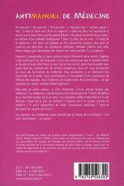 Antimanuel de médecine ; i.r.m. du monde médical - 4ème de couverture - Format classique