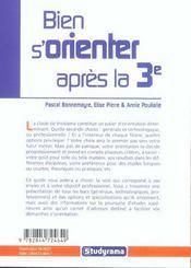 Bien s'orienter apres la 3e (2e édition) - 4ème de couverture - Format classique