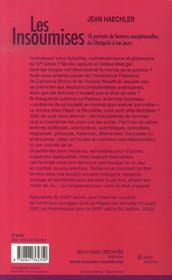 Les insoumises - 4ème de couverture - Format classique