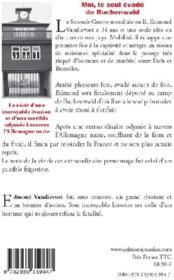 Moi, le seul évadé de Buchenwald - 4ème de couverture - Format classique