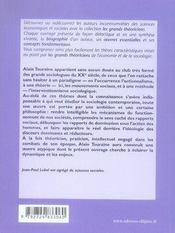 Alain touraine ; vie, oeuvres, concepts - 4ème de couverture - Format classique