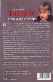 Incognito - Un Certain Don De Voyance - 4ème de couverture - Format classique