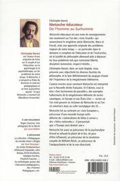 Nietzsche éducateur ; de l'homme au surhomme - 4ème de couverture - Format classique