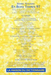 En bons termes 1997 - Intérieur - Format classique