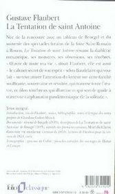 La tentation de saint antoine - 4ème de couverture - Format classique