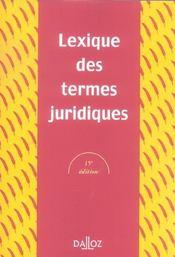 Lexique des termes juridiques (15è édition) - Intérieur - Format classique