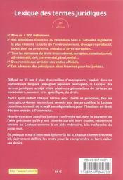 Lexique des termes juridiques (15è édition) - 4ème de couverture - Format classique