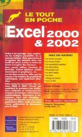 Excel 2000 Et 2002 - 4ème de couverture - Format classique