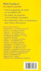 Maths ; les repères essentiels ; 1ère S - 4ème de couverture - Format classique