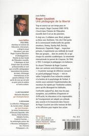 Roger Cousinet ; une pédagogie de la liberté - 4ème de couverture - Format classique