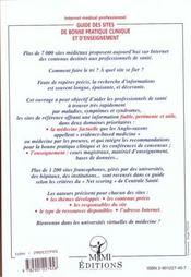 Internet Medical Professionnel ; Guide Des Sites De Bonne Pratique Clinique Et D'Enseignement - 4ème de couverture - Format classique