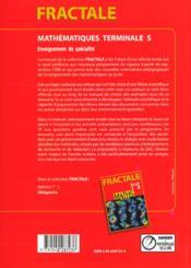 Maths specialite terminale s: livre de l'eleve - 4ème de couverture - Format classique