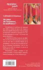 Schopenhauer ; Au Coeur De L'Existence, La Souffrance ? - 4ème de couverture - Format classique