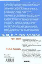14-18 ; le cri d'une generation - 4ème de couverture - Format classique