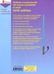 Sante Publique ; Etudes Et Diplomes Du Secteur Medico-Social - 4ème de couverture - Format classique