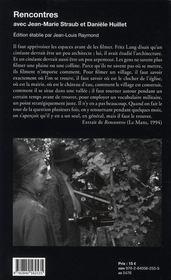 Rencontres ; Jean-Marie Straub et Daniele Huillet - 4ème de couverture - Format classique