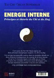 Tai chi chuan supérieur.. Énergie interne. principes et théorie du chi et du jing - 4ème de couverture - Format classique
