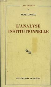 L'Analyse Institutionnelle - Couverture - Format classique