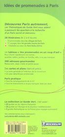LE GUIDE VERT ; idées de promenade à Paris - 4ème de couverture - Format classique