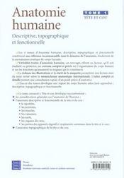 Anatomie humaine. descriptive, topographique et fonctionnelle. tete et cou - 4ème de couverture - Format classique