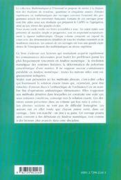 Methodes Numeriques Directes De L'Algebre Matricielle ; Niveau L3 - 4ème de couverture - Format classique