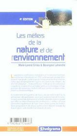 Les metiers de la nature et de l'environnement - 4ème de couverture - Format classique